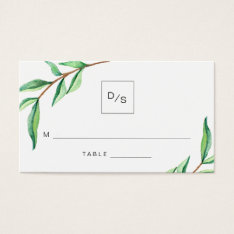 Minimalist Green Leaves Wedding Escort Cards at Zazzle