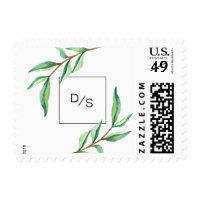 Minimalist Green Leaves with Monogram Wedding Postage