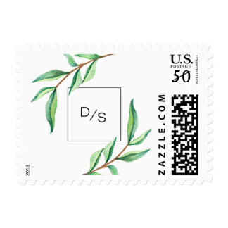 Minimalist Green Leaves with Monogram Wedding Postage