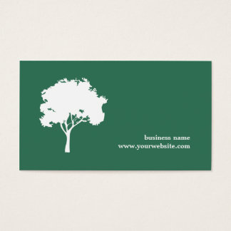 Minimalist Green White Tree Landscaping Business Card