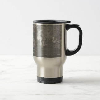 Minimalist Grey Vintage World Map 15 Oz Stainless Steel Travel Mug