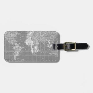Minimalist Grey Vintage World Map Bag Tag