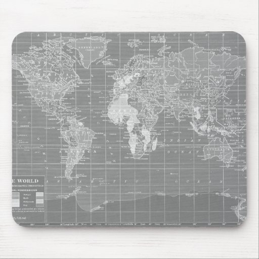 Minimalist Grey Vintage World Map Mousepad