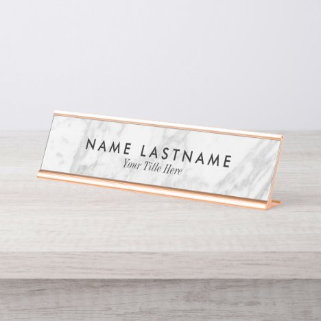 Minimalist Grey White Marble Custom Desk Nameplate