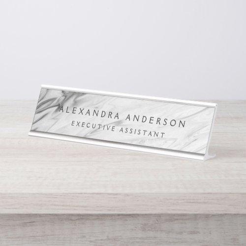 Minimalist Grey White Marble Professional Desk Name Plate