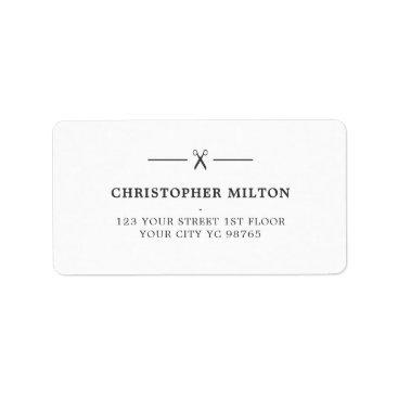 Beach Themed Minimalist Grey White Scissors Hair Salon Label