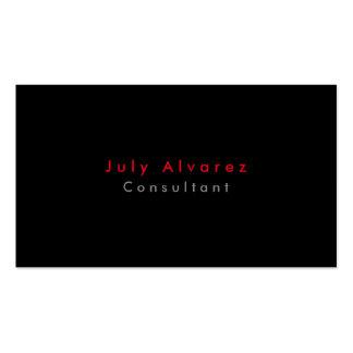 Minimalist gris rojo negro elegante llano simple tarjetas de visita