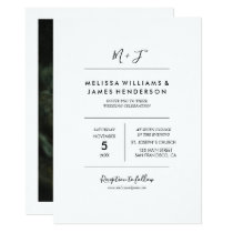 Minimalist Handwritten Monogram Wedding Photo Invitation
