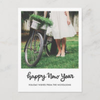 Minimalist Happy New Year Handwritten Script Photo Holiday Postcard