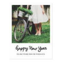 Minimalist Happy New Year Handwritten Script Photo Postcard