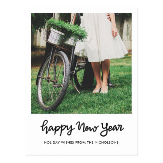 Minimalist Happy New Year Handwritten Script Photo Postcard