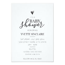 Minimalist Heart Baby Shower Invitation