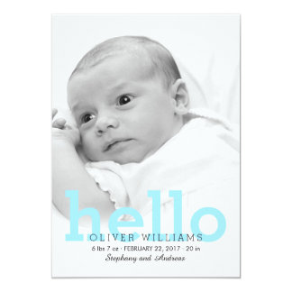 """Minimalist Hello Baby Birth Photo Announcement 5"""" X 7"""" Invitation Card"""