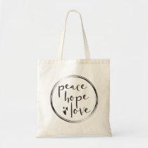 Minimalist • Holiday • PEACE HOPE LOVE Tote Bag