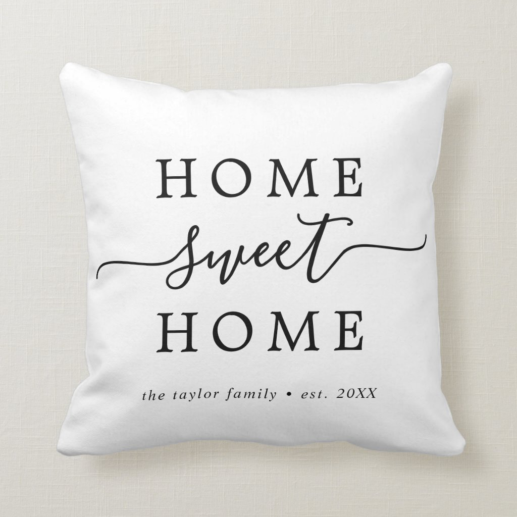 Minimalist Home Sweet Home Housewarming Throw Pillow