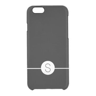 Minimalist iOS 8 Style Plain Black White Monogram Uncommon Clearly™ Deflector iPhone 6 Case