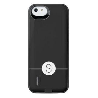 Minimalist iOS 8 Style Plain Black White Monogram Uncommon Power Gallery™ iPhone 5 Battery Case