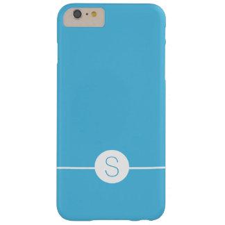 Minimalist iOS 8 Style - Plain Blue White Monogram Barely There iPhone 6 Plus Case