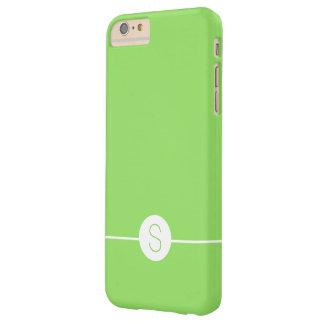 Minimalist iOS 8 Style Plain Green White Monogram Barely There iPhone 6 Plus Case