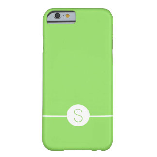 Minimalist iOS 8 Style Plain Green White Monogram Barely There iPhone 6 Case