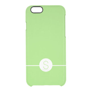 Minimalist iOS 8 Style Plain Green White Monogram Uncommon Clearly™ Deflector iPhone 6 Case