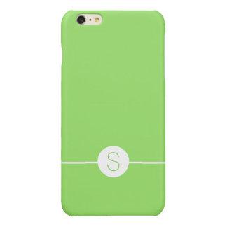 Minimalist iOS 8 Style Plain Green White Monogram Glossy iPhone 6 Plus Case