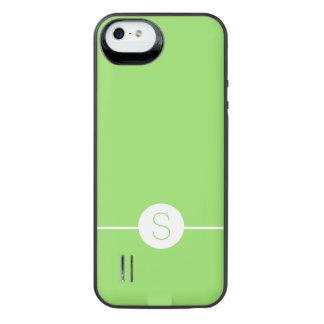 Minimalist iOS 8 Style Plain Green White Monogram Uncommon Power Gallery™ iPhone 5 Battery Case