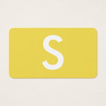 Lawyer Themed Minimalist Large Monogram / Yellow Business Card