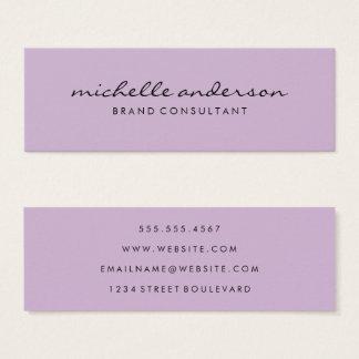 Minimalist Lavender Cursive Text Mini Business Card