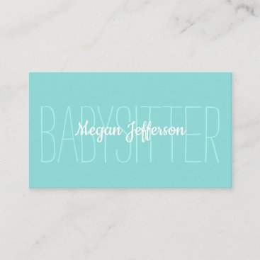 Minimalist Light Green Babysitter Childcare Simple Business Card