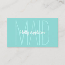 Minimalist Light Green Maid Housekeeper Cleaning Business Card