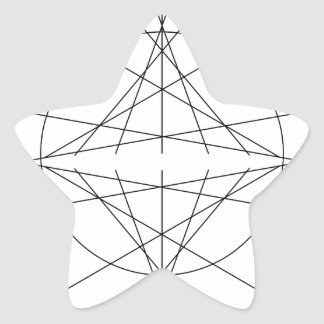 Minimalist Line Art - Black and White Geometric Star Sticker