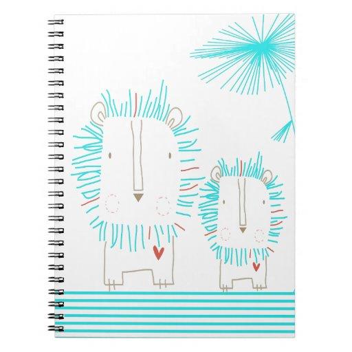 Minimalist Lion - Aqua and White Notebook