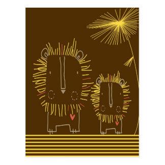Minimalist Lion - Brown Background Postcard