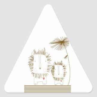 Minimalist Lion - Brown Triangle Sticker