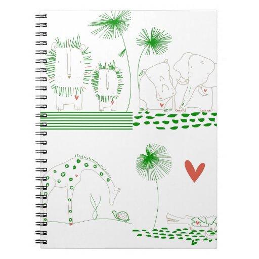 Minimalist Lion, Turtle, Crocodile and Giraffe Spiral Note Book