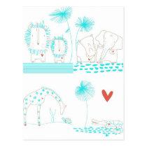 Minimalist Lion, Turtle, Crocodile and Giraffe Postcard