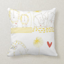 Minimalist Lion, Turtle, Crocodile and Giraffe Throw Pillow