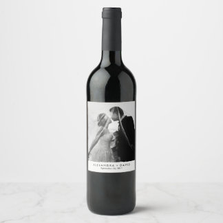 Minimalist Look with your Wedding Photo Wine Label