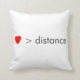 "minimalist ""love is greater than distance""  quote throw pillow"