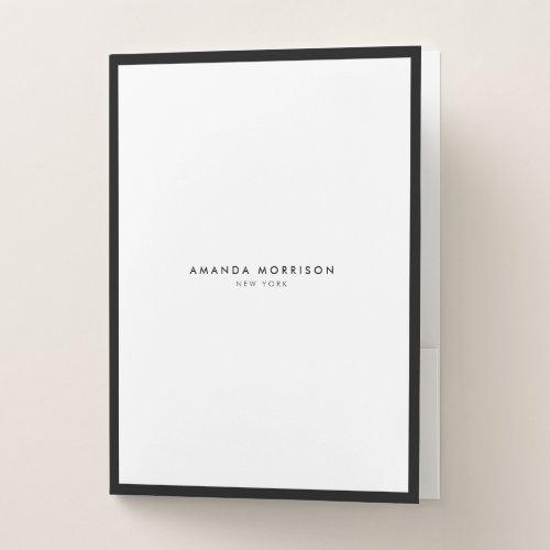 Minimalist Luxury Boutique BlackWhite Pocket Folder