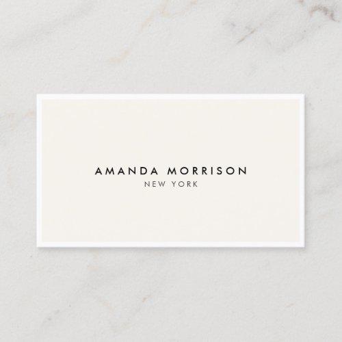 Minimalist Luxury Boutique WhiteIvory Business Card