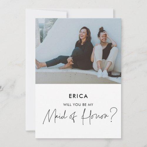 Minimalist Maid of Honor proposal photo card