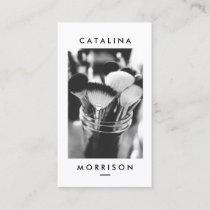 Minimalist Makeup Artist Brushes Photo Business Card