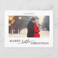 Minimalist Marry Little Christmas Save the Date Holiday Postcard