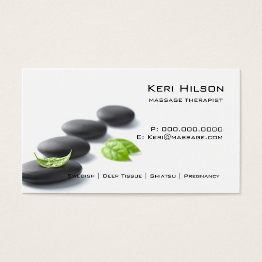 Minimalist massage therapist business card zazzlecom for Massage therapy business card templates free
