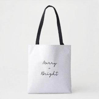 Minimalist 'Merry + Bright' tote   Christmas bag