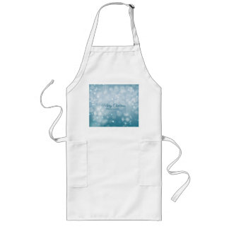 Minimalist Merry Christmas design with snowflakes Long Apron