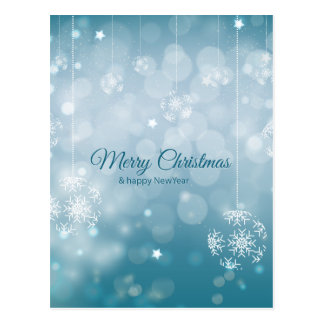 Minimalist Merry Christmas design with snowflakes Postcard