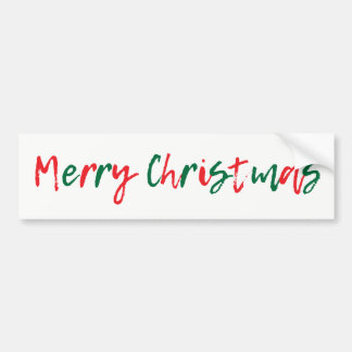 Minimalist Merry Christmas Green Red Script Bumper Sticker